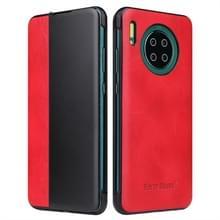 Voor Huawei Mate 30 Crazy Horse Texture Smart View Window Horizontal Flip Leather Case (Rood)