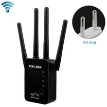 Wireless Smart WiFi Router Repeater with 4 WiFi Antennas  Plug Specification:EU Plug(Black)