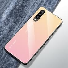 Voor Huawei P30 Gradient Color Glass Case(Geel)