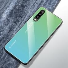 Voor Huawei P30 Gradient Color Glass Case (Sky Blue)