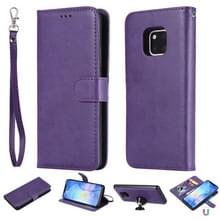 For Huawei Mate 20 Pro Solid Color Horizontal Flip Protective Case with Holder & Card Slots & Wallet & Photo Frame & Lanyard(Purple)