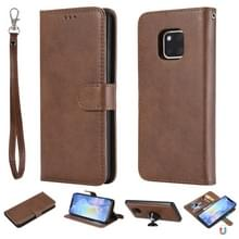 For Huawei Mate 20 Pro Solid Color Horizontal Flip Protective Case with Holder & Card Slots & Wallet & Photo Frame & Lanyard(Brown)
