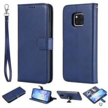 Voor Huawei Mate 20 Pro Solid Color Horizontal Flip Protective Case met Holder & Card Slots & Wallet & Photo Frame & Lanyard(Blue)