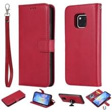 Voor Huawei Mate 20 Pro Solid Color Horizontal Flip Protective Case met Holder & Card Slots & Wallet & Photo Frame & Lanyard(Red)