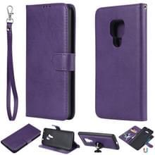 Voor Huawei Mate 20 Solid Color Horizontal Flip Protective Case met Holder & Card Slots & Wallet & Photo Frame & Lanyard(Purple)