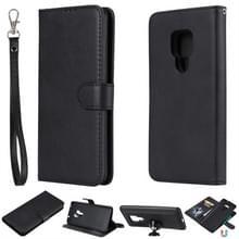 Voor Huawei Mate 20 Solid Color Horizontal Flip Protective Case met Holder & Card Slots & Wallet & Photo Frame & Lanyard(Black)