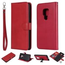 Voor Huawei Mate 20 Solid Color Horizontal Flip Protective Case met Holder & Card Slots & Wallet & Photo Frame & Lanyard(Red)