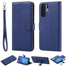 Voor Huawei P30 Pro Solid Color Horizontal Flip Protective Case met Holder & Card Slots & Wallet & Photo Frame & Lanyard(Blue)