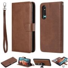 Voor Huawei P30 Solid Color Horizontal Flip Protective Case met Holder & Card Slots & Wallet & Photo Frame & Lanyard(Brown)