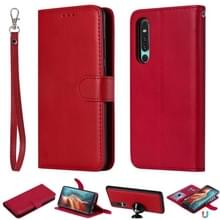 Voor Huawei P30 Solid Color Horizontal Flip Protective Case met Holder & Card Slots & Wallet & Photo Frame & Lanyard(Red)