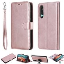 Voor Huawei P30 Solid Color Horizontal Flip Protective Case met Holder & Card Slots & Wallet & Photo Frame & Lanyard(Rose Gold)