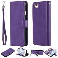 Voor iPhone 6 / 7 / 8 Solid Color Horizontal Flip Protective Case met Houder & Card Slots & Wallet & Photo Frame & Lanyard(Purple)