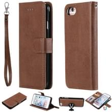 Voor iPhone 6 / 7 / 8 Solid Color Horizontal Flip Protective Case met Houder & Card Slots & Wallet & Photo Frame & Lanyard(Brown)