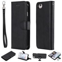Voor iPhone 6 / 7 / 8 Solid Color Horizontal Flip Protective Case met Houder & Card Slots & Wallet & Photo Frame & Lanyard(Black)