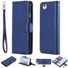 For iPhone 6 / 7 / 8 Solid Color Horizontal Flip Protective Case with Holder & Card Slots & Wallet & Photo Frame & Lanyard(Blue)