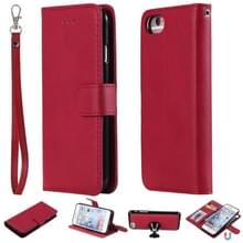 Voor iPhone 6 / 7 / 8 Solid Color Horizontal Flip Protective Case met Houder & Card Slots & Wallet & Photo Frame & Lanyard(Red)