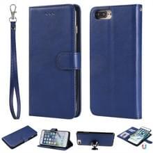 Voor iPhone 6 Plus / 7 Plus / 8 Plus Solid Color Horizontale Flip Beschermhoes met Houder & Card Slots & Wallet & Photo Frame & Lanyard(Blue)