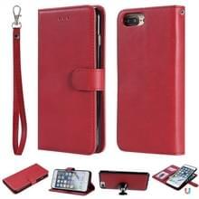 Voor iPhone 6 Plus / 7 Plus / 8 Plus Solid Color Horizontale Flip Beschermhoes met Houder & Card Slots & Wallet & Photo Frame & Lanyard(Red)
