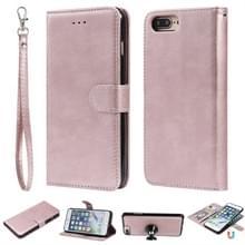 Voor iPhone 6 Plus / 7 Plus / 8 Plus Solid Color Horizontale Flip Beschermhoes met Houder & Card Slots & Wallet & Photo Frame & Lanyard(Rose Gold)