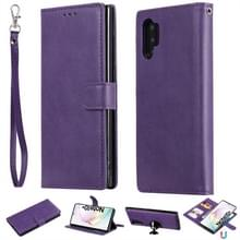 Voor Galaxy Note 10+ Solid Color Horizontal Flip Protective Case met Holder & Card Slots & Wallet & Photo Frame & Lanyard(Purple)