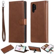 Voor Galaxy Note 10+ Solid Color Horizontal Flip Protective Case met Holder & Card Slots & Wallet & Photo Frame & Lanyard(Brown)