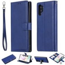 Voor Galaxy Note 10+ Solid Color Horizontal Flip Protective Case met Holder & Card Slots & Wallet & Photo Frame & Lanyard(Blue)