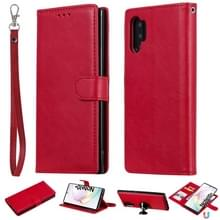 Voor Galaxy Note 10+ Solid Color Horizontal Flip Protective Case met Holder & Card Slots & Wallet & Photo Frame & Lanyard(Red)