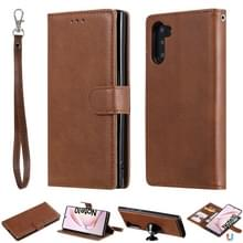 Voor Galaxy Note 10 Solid Color Horizontal Flip Protective Case met Holder & Card Slots & Wallet & Photo Frame & Lanyard(Brown)