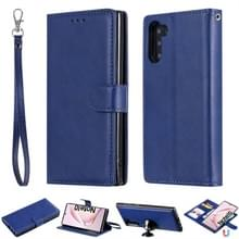 Voor Galaxy Note 10 Solid Color Horizontal Flip Protective Case met Holder & Card Slots & Wallet & Photo Frame & Lanyard(Blue)