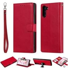 For Galaxy Note 10 Solid Color Horizontal Flip Protective Case with Holder & Card Slots & Wallet & Photo Frame & Lanyard(Red)