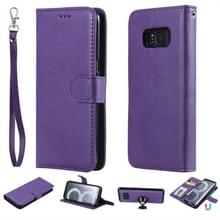 Voor Galaxy S8 Solid Color Horizontal Flip Protective Case met Holder & Card Slots & Wallet & Photo Frame & Lanyard(Purple)