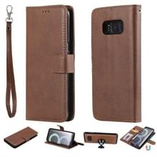 Voor Galaxy S8 Solid Color Horizontal Flip Protective Case met Holder & Card Slots & Wallet & Photo Frame & Lanyard(Brown)