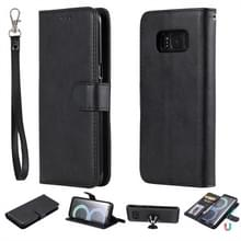 Voor Galaxy S8 Solid Color Horizontal Flip Protective Case met Holder & Card Slots & Wallet & Photo Frame & Lanyard(Black)