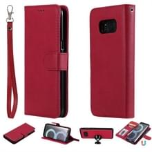 For Galaxy S8 Solid Color Horizontal Flip Protective Case with Holder & Card Slots & Wallet & Photo Frame & Lanyard(Red)