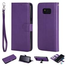 Voor Galaxy S8+ Solid Color Horizontal Flip Protective Case met Holder & Card Slots & Wallet & Photo Frame & Lanyard(Purple)