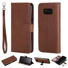 Voor Galaxy S8+ Solid Color Horizontal Flip Protective Case met Holder & Card Slots & Wallet & Photo Frame & Lanyard(Brown)