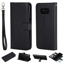 Voor Galaxy S8+ Solid Color Horizontal Flip Protective Case met Holder & Card Slots & Wallet & Photo Frame & Lanyard(Black)
