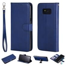 Voor Galaxy S8+ Solid Color Horizontal Flip Protective Case met Holder & Card Slots & Wallet & Photo Frame & Lanyard(Blue)