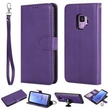 Voor Galaxy S9 Solid Color Horizontal Flip Protective Case met Holder & Card Slots & Wallet & Photo Frame & Lanyard(Purple)