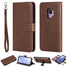 Voor Galaxy S9 Solid Color Horizontal Flip Protective Case met Holder & Card Slots & Wallet & Photo Frame & Lanyard(Brown)