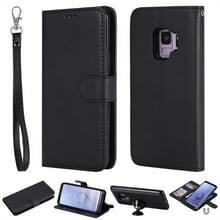Voor Galaxy S9 Solid Color Horizontal Flip Protective Case met Holder & Card Slots & Wallet & Photo Frame & Lanyard(Black)