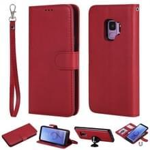 Voor Galaxy S9 Solid Color Horizontal Flip Protective Case met Holder & Card Slots & Wallet & Photo Frame & Lanyard(Red)