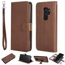 Voor Galaxy S9+ Solid Color Horizontal Flip Protective Case met Holder & Card Slots & Wallet & Photo Frame & Lanyard(Brown)