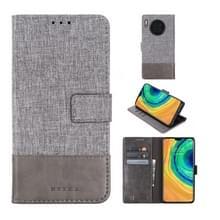 Voor Huawei Mate 30 MUMXA MX102 Horizontaal flip canvas stiksels lederen behuizing met houder & kaartsleuven & portemonnee (grijs)