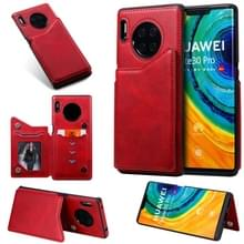 Voor Huawei Mate30 Pro Solid Color Calf Texture Shockproof Protective Case met Card Slots & Photo Frame(Red)