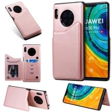 Voor Huawei Mate30 Pro Solid Color Calf Texture Shockproof Protective Case met Card Slots & Photo Frame(Rose Gold)