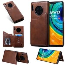 Voor Huawei Mate30 Pro Solid Color Calf Texture Shockproof Protective Case met Card Slots & Photo Frame(Coffee)