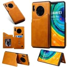 For Huawei Mate30 Pro Solid Color Calf Texture Shockproof Protective Case with Card Slots & Photo Frame(Borwn)