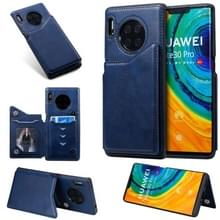 Voor Huawei Mate30 Pro Solid Color Calf Texture Shockproof Protective Case met Card Slots & Photo Frame(Blue)