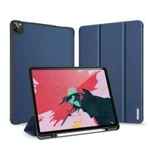 Voor iPad Pro 12 9 (2020) DUX DUCIS Domo serie horizontale Flip magnetische PU lederen draagtas met drie-vouwen houder & pen slot (blauw)
